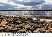Купить «Stormy clouds and a rocky river bank», фото № 27209366, снято 31 мая 2016 г. (c) Евгений Ткачёв / Фотобанк Лори
