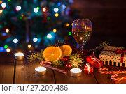 Купить «Christmas background on a table», фото № 27209486, снято 15 ноября 2017 г. (c) Типляшина Евгения / Фотобанк Лори