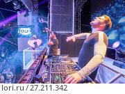 Купить «DJ D-Wayne & MC Tjen at music festival Starbeach in Hersonissos, Crete, Greece, on 19. July 2017», фото № 27211342, снято 19 июля 2017 г. (c) age Fotostock / Фотобанк Лори