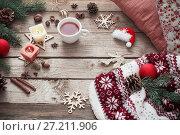 Купить «candles and Christmas decoration on wooden background», фото № 27211906, снято 14 ноября 2017 г. (c) Майя Крученкова / Фотобанк Лори