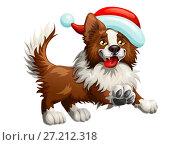 Купить «Радостная коричневая собака породы бордер колли в новогодней шапке Санта Клауса весело бежит вперед. Иллюстрация в мультипликационном стиле.», иллюстрация № 27212318 (c) Анастасия Некрасова / Фотобанк Лори