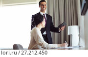 Купить «business team with papers and tablet pc at hotel», видеоролик № 27212450, снято 25 июня 2019 г. (c) Syda Productions / Фотобанк Лори