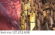 Купить «St. Vitus Cathedral (Roman Catholic cathedral ) and holiday fireworks -- Prague Castle and Hradcany, Czech Republic», видеоролик № 27212638, снято 17 ноября 2017 г. (c) Владимир Журавлев / Фотобанк Лори
