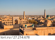 Купить «View of the ancient fortress Ichan Kala from the observation deck at sunset. Khiva, Uzbekistan», фото № 27214678, снято 21 октября 2016 г. (c) Юлия Бабкина / Фотобанк Лори
