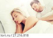 Купить «happy couple sleeping in bed at home», фото № 27216818, снято 25 февраля 2016 г. (c) Syda Productions / Фотобанк Лори