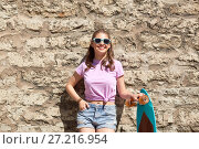 Купить «happy teenage girl in shades with longboard», фото № 27216954, снято 17 июня 2017 г. (c) Syda Productions / Фотобанк Лори