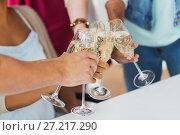 Купить «friends clinking glasses of champagne at party», фото № 27217290, снято 3 сентября 2017 г. (c) Syda Productions / Фотобанк Лори