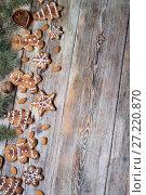 Купить «Christmas cookies on a wooden», фото № 27220870, снято 14 сентября 2017 г. (c) Типляшина Евгения / Фотобанк Лори