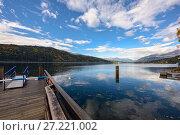 Озеро Мильштеттер (Millstaetter See), вид на Альпы. Город Милльштатт, Австрия (2017 год). Стоковое фото, фотограф Bala-Kate / Фотобанк Лори