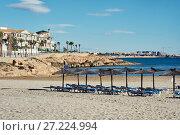 Купить «Empty beach of Cabo Roig in autumn. Costa Blanca. Spain», фото № 27224994, снято 5 ноября 2017 г. (c) Alexander Tihonovs / Фотобанк Лори