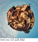 Little planet 360 degree sphere. Panorama of Roussillon village. One of the most impressive villages in France (2016 год). Стоковое фото, фотограф Alexander Tihonovs / Фотобанк Лори