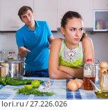 Купить «Upset man and frustrated woman at kitchen», фото № 27226026, снято 21 марта 2019 г. (c) Яков Филимонов / Фотобанк Лори