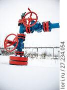 Купить «Valves of oil production line», фото № 27234054, снято 15 января 2017 г. (c) bashta / Фотобанк Лори