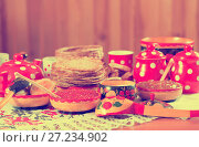 pancake with caviar and tea. Стоковое фото, фотограф Яков Филимонов / Фотобанк Лори