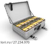 Купить «Чемодан заполненный украинскими банкнотами», иллюстрация № 27234970 (c) WalDeMarus / Фотобанк Лори