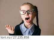 Купить «Эмоциональная девочка», фото № 27235858, снято 24 сентября 2017 г. (c) Иван Карпов / Фотобанк Лори