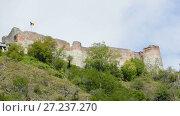 Купить «Poenari Castle on the mountain in Romania.», видеоролик № 27237270, снято 20 октября 2017 г. (c) Яков Филимонов / Фотобанк Лори