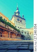Купить «View of clock tower from fortress square in Sighisoara», фото № 27240054, снято 16 сентября 2017 г. (c) Яков Филимонов / Фотобанк Лори