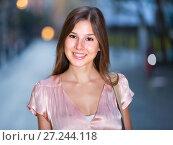Купить «close-up portrait of smiling slim adult girl in sexy evening apparel», фото № 27244118, снято 26 августа 2017 г. (c) Яков Филимонов / Фотобанк Лори