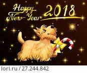 Купить «Подарочная открытка с собакой породы Скотч Терьер желтого цвета, с карамельной палочкой, надписью Harry New Year и золотыми звездочками на черном фоне. Цветная иллюстрация в мультипликационном стиле.», иллюстрация № 27244842 (c) Анастасия Некрасова / Фотобанк Лори
