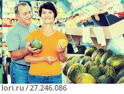 Купить «Adult male and female are choosing green melons in the store.», фото № 27246086, снято 22 октября 2017 г. (c) Яков Филимонов / Фотобанк Лори