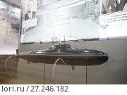 Купить «Атомная подводная лодка проекта 705, 1970-е годы, модель», эксклюзивное фото № 27246182, снято 29 ноября 2017 г. (c) Юлия Бабкина / Фотобанк Лори