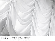 Купить «White waving tulle curtain. Background», фото № 27246222, снято 22 октября 2017 г. (c) EugeneSergeev / Фотобанк Лори