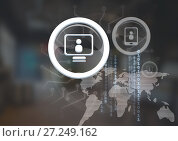 Купить «Profile icon on computer and phone in glass circles over world map connections», фото № 27249162, снято 11 декабря 2017 г. (c) Wavebreak Media / Фотобанк Лори