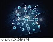 Купить «Business icons connected», фото № 27249274, снято 17 июля 2018 г. (c) Wavebreak Media / Фотобанк Лори