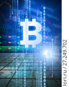 Купить «bitcoin graphic icon with binary code and market finance economy charts», фото № 27249702, снято 23 апреля 2019 г. (c) Wavebreak Media / Фотобанк Лори