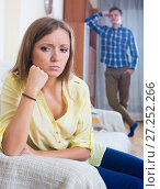 Young husband blaming girl during quarrelling. Стоковое фото, фотограф Яков Филимонов / Фотобанк Лори