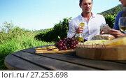 Happy couple discussing over mobile phone while having wine 4k. Стоковое видео, агентство Wavebreak Media / Фотобанк Лори