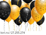 Купить «Bright gold and black balloons 2018, Christmas, New Year Balloon with glitter on white background. Isolated. Ballon inscriptions», фото № 27255274, снято 22 июля 2018 г. (c) Сергей Тимофеев / Фотобанк Лори
