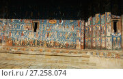 Купить «Illustrations of frescoes on outer walls of church of Sucevita Monastery in Romania.», видеоролик № 27258074, снято 7 октября 2017 г. (c) Яков Филимонов / Фотобанк Лори