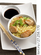 Купить «Udon noodle soup with chicken and soy sauce», фото № 27258170, снято 27 ноября 2017 г. (c) Stockphoto / Фотобанк Лори