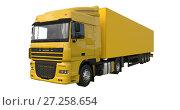 Купить «Large yellow truck with a semitrailer. Template for placing graphics. 3d rendering.», иллюстрация № 27258654 (c) Владимир Хапаев / Фотобанк Лори