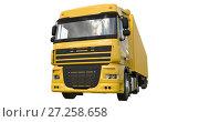 Купить «Large yellow truck with a semitrailer. Template for placing graphics. 3d rendering.», иллюстрация № 27258658 (c) Владимир Хапаев / Фотобанк Лори