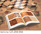 Купить «Few types of wooden parquet coating and catalog. Stack ofr parquet wooden planks.», фото № 27259550, снято 22 мая 2019 г. (c) Maksym Yemelyanov / Фотобанк Лори