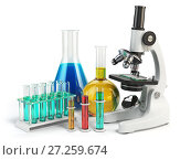 Microscope with flasks and vials. Chemistry labratory tools. Стоковое фото, фотограф Maksym Yemelyanov / Фотобанк Лори