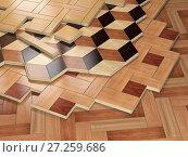 Купить «Stack ofr parquet wooden planks. Few types of wooden parquet coating.», фото № 27259686, снято 8 июля 2020 г. (c) Maksym Yemelyanov / Фотобанк Лори
