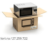 Купить «Microwave oven in carton cardboard box. E-commerce, internet online shopping and delivery concept.», фото № 27259722, снято 12 декабря 2017 г. (c) Maksym Yemelyanov / Фотобанк Лори