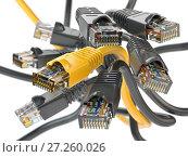 Купить «Computer network LAN cables rj45. Iternet connections choice concept.», фото № 27260026, снято 26 апреля 2018 г. (c) Maksym Yemelyanov / Фотобанк Лори