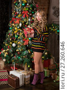 Купить «Девушка  с новогодним подарком в руках», фото № 27260646, снято 29 ноября 2017 г. (c) Литвяк Игорь / Фотобанк Лори
