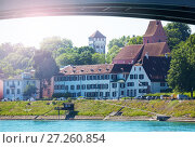 Купить «Waterfront view of Basel under bridge across Rhine», фото № 27260854, снято 26 мая 2017 г. (c) Сергей Новиков / Фотобанк Лори