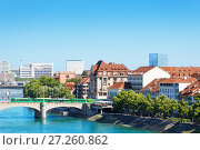 Купить «Cityscape of Basel and Middle bridge over Rhine», фото № 27260862, снято 26 мая 2017 г. (c) Сергей Новиков / Фотобанк Лори