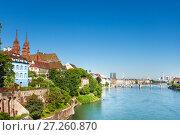 Купить «Beautiful cityscape of Swiss Basel at sunny day», фото № 27260870, снято 13 декабря 2019 г. (c) Сергей Новиков / Фотобанк Лори