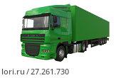 Купить «Large green truck with a semitrailer. Template for placing graphics. 3d rendering.», иллюстрация № 27261730 (c) Владимир Хапаев / Фотобанк Лори