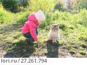 Купить «Lovely  1 years girl and homeless cat in autumn outdoors», фото № 27261794, снято 11 октября 2017 г. (c) ivolodina / Фотобанк Лори