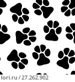 Купить «Paw seamless pattern», иллюстрация № 27262902 (c) Сергей Лаврентьев / Фотобанк Лори