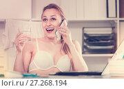 Купить «Portrait of smiling girl in underwear in the office», фото № 27268194, снято 24 апреля 2017 г. (c) Яков Филимонов / Фотобанк Лори